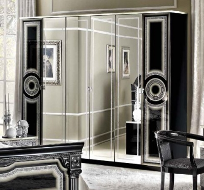 Camel Aida Black and Silver Italian Wardrobe - 6 Door