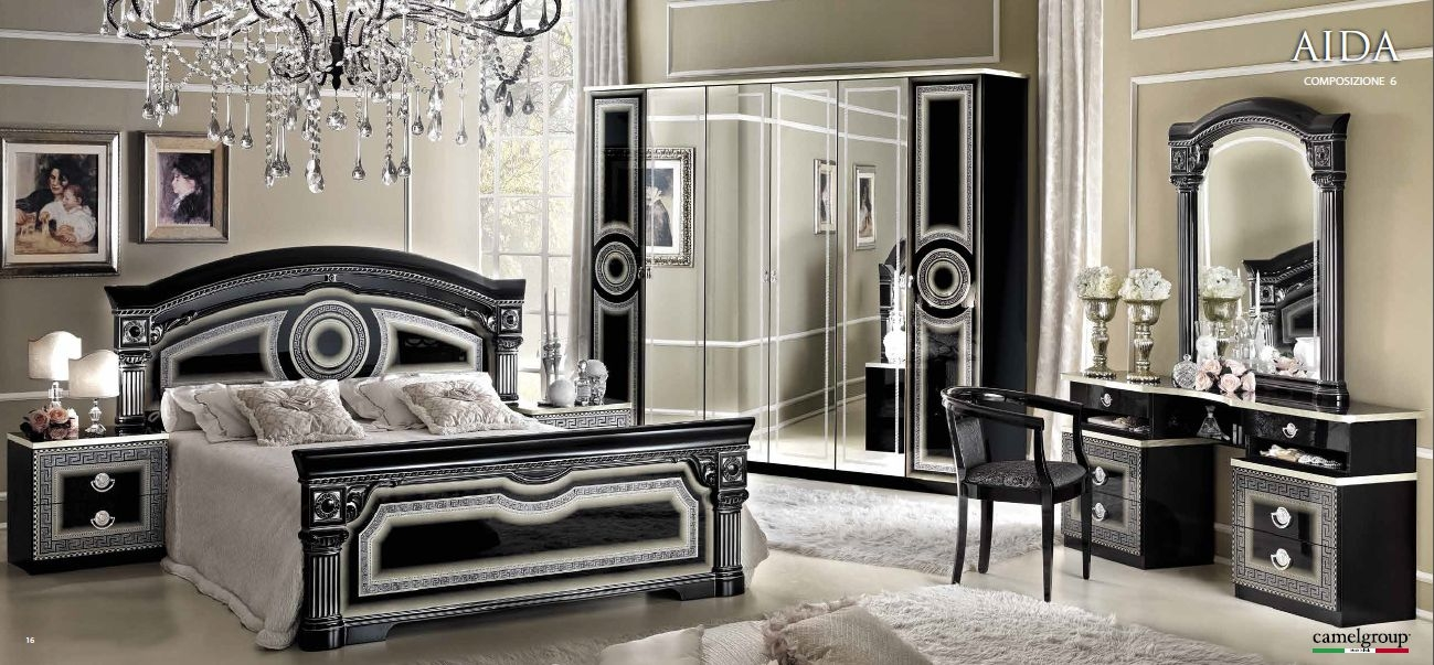 Camel Aida Black and Silver Italian Bedroom Set with 6 Door Wardrobe