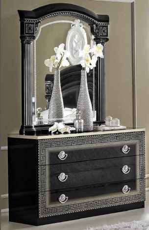 Camel Aida Black and Silver Italian Dresser - Single with Mirror