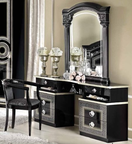 Camel Aida Black and Silver Italian Vanity Dresser with Mirror and Chair