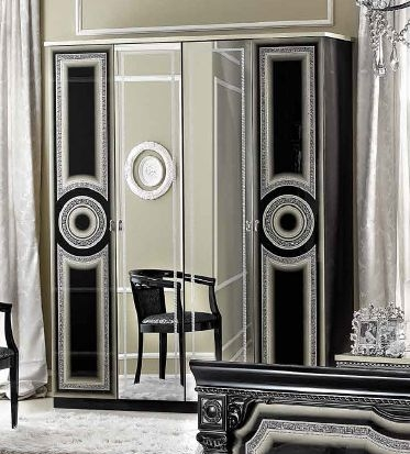 Camel Aida Black and Silver Italian Wardrobe - 4 Door