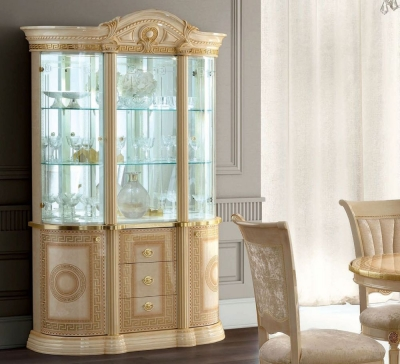 Camel Aida Day Ivory Italian 3 Door China Cabinet with LED Light