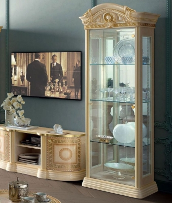 Camel Aida Day Ivory Italian 1 Left Door China Cabinet with LED Light