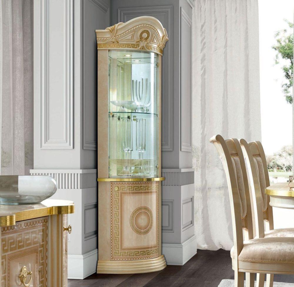 Camel Aida Day Ivory Italian Corner Cabinet with LED Light