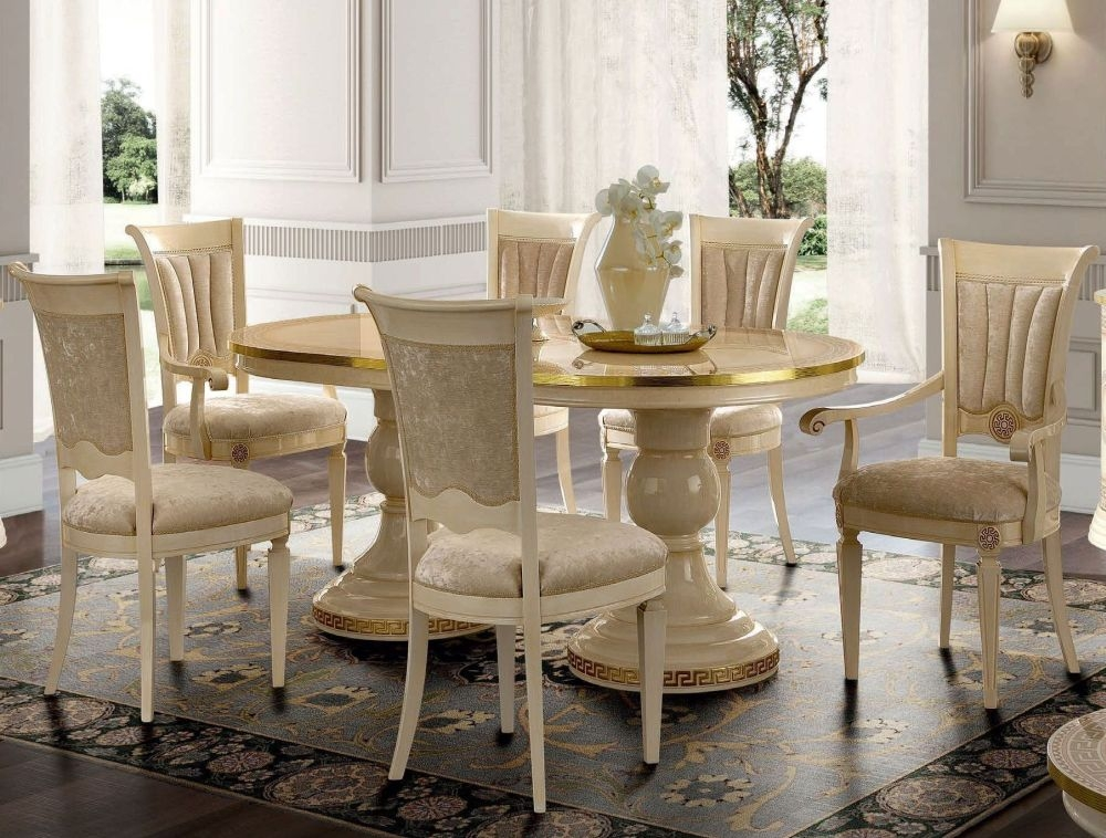 Camel Aida Day Ivory Italian Oval Extending Dining Table with 4 Chairs and 2 Armchair