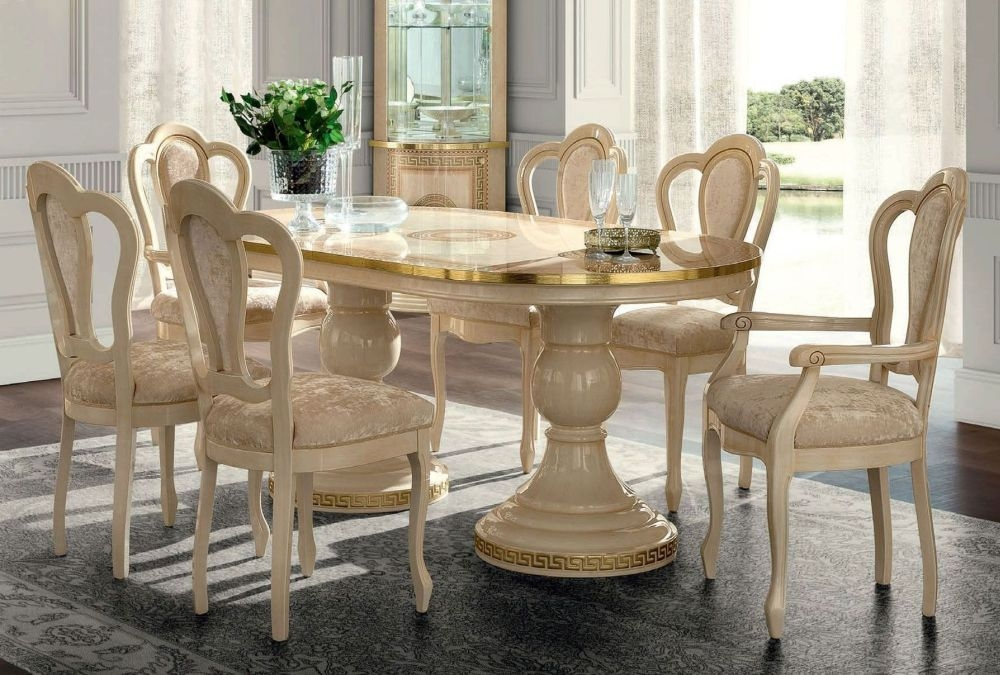 Camel Aida Day Ivory Italian Oval Extending Dining Table with 4 Michelangelo Chairs and 2 Armchair