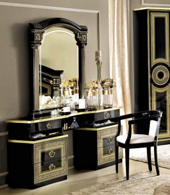 Camel Aida Black and Gold Italian Vanity Dresser