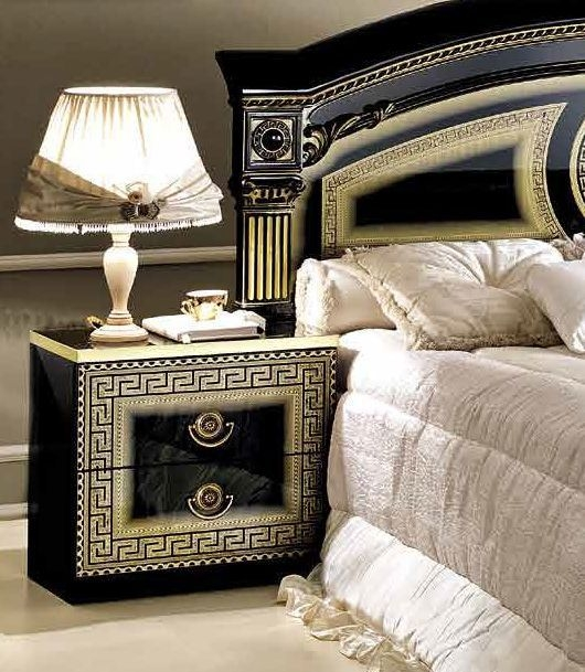 Camel Aida Black and Gold Italian Bedside Cabinet