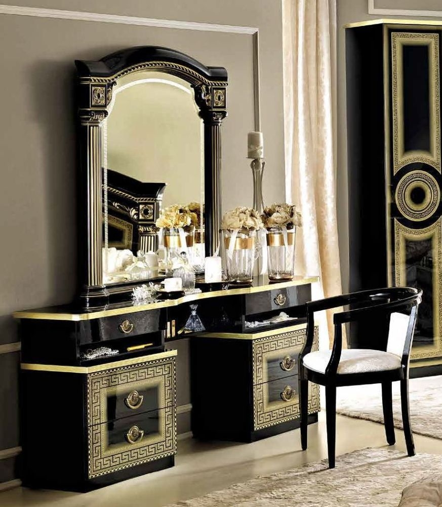 Camel Aida Black and Gold Italian Vanity Dresser