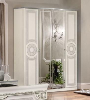 Camel Aida White and Silver Italian 4 Door Wardrobe