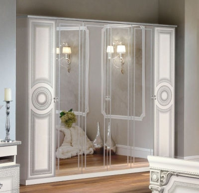 Camel Aida White and Silver Italian 6 Door Wardrobe