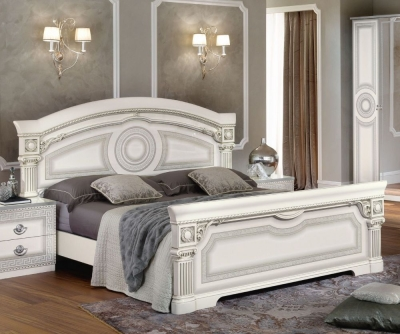 Camel Aida White and Silver Italian Bed