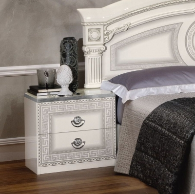 Camel Aida White and Silver Italian Bedside Cabinet
