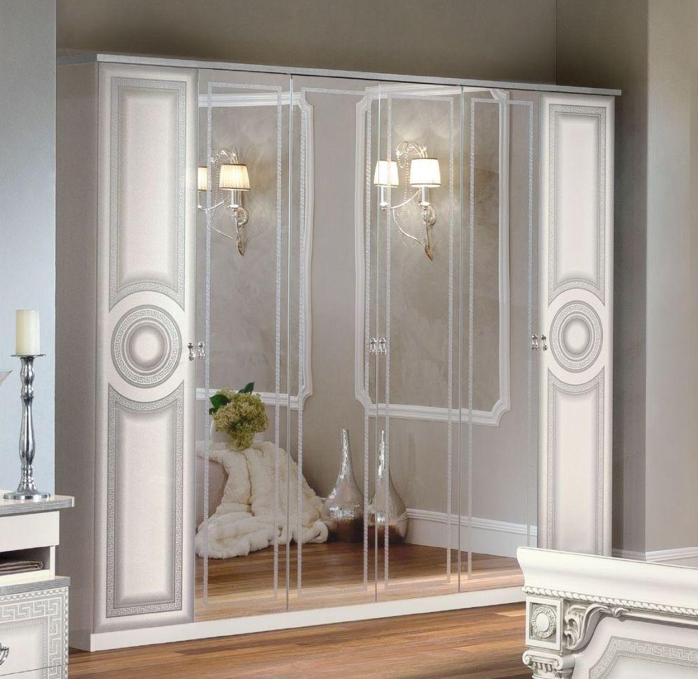 Camel Aida White and Silver Italian 6 Door Wardrobe