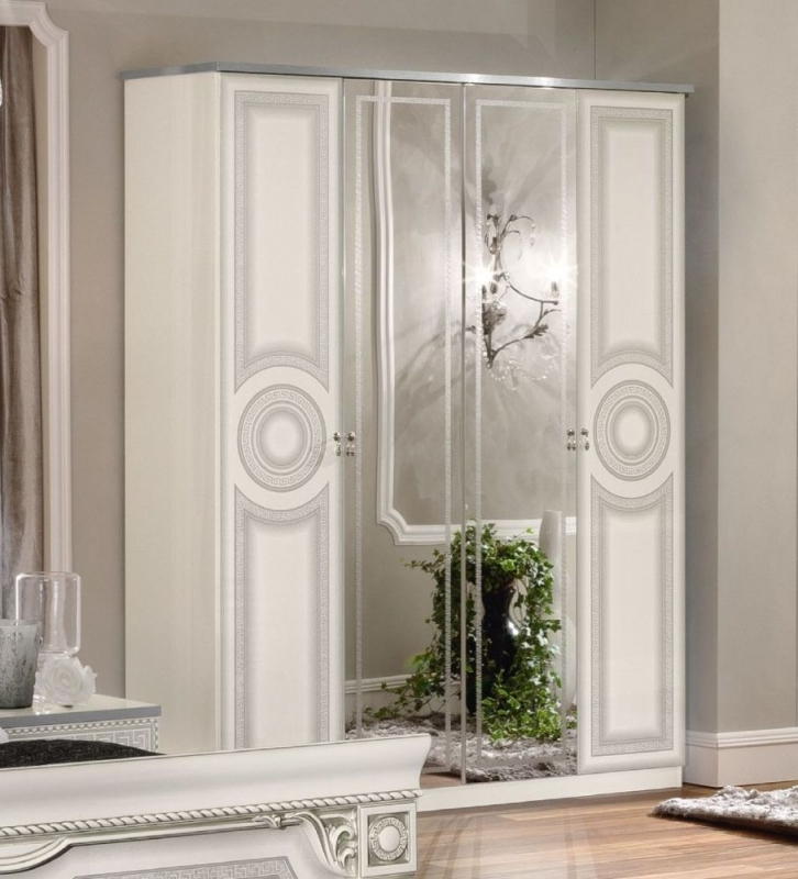 Camel Aida White and Silver Italian 4 Door Wardrobe
