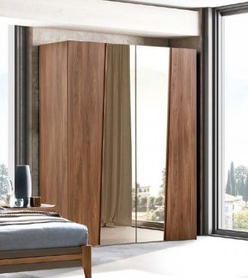 Camel Akademy Night Italian Wooden 4 Door Wardrobe with Mirror