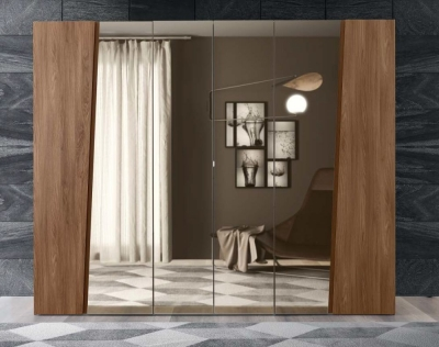 Camel Akademy Italian Wooden Hinged Mirror Door Wardrobe