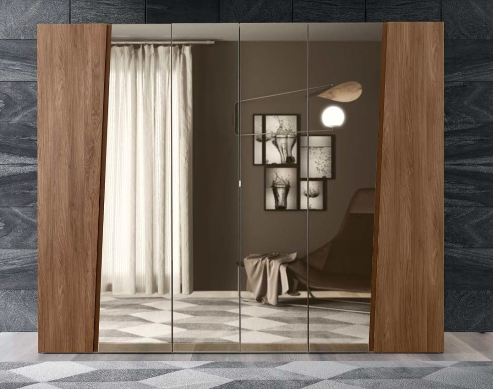 Camel Akademy Italian Wooden Hinged Mirror Door Wardrobe
