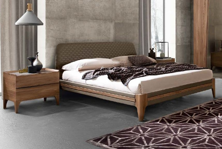 Camel Letto Akademy Italian Luna Bed with Eco Leather Ring