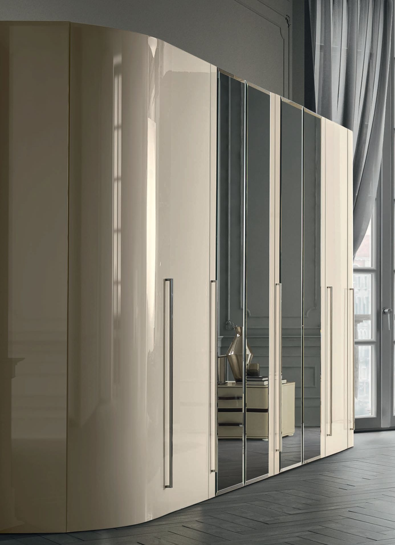 Camel Altea Italian Mirror Door Wardrobe