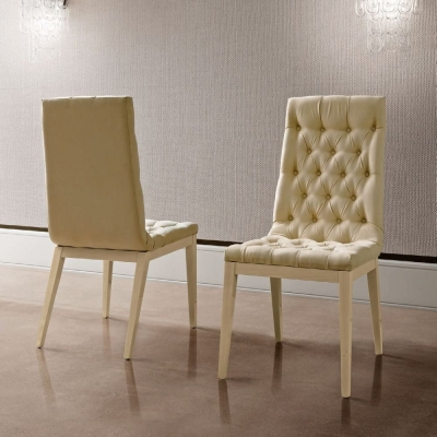 Camel Ambra Day Sand Birch Eco Nabuk Upholstered Italian Capitonne Dining Chair