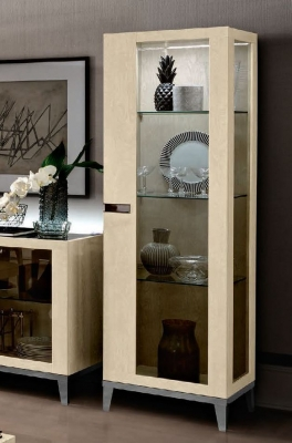 Camel Ambra Day Sand Birch Italian 1 Right Door Vitrine with Glass Side