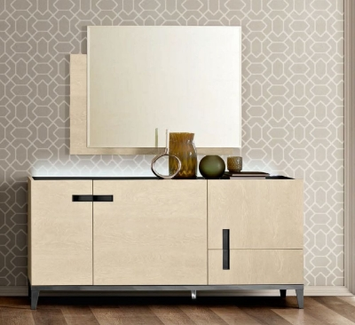 Camel Ambra Day Sand Birch Italian Large Buffet Sideboard