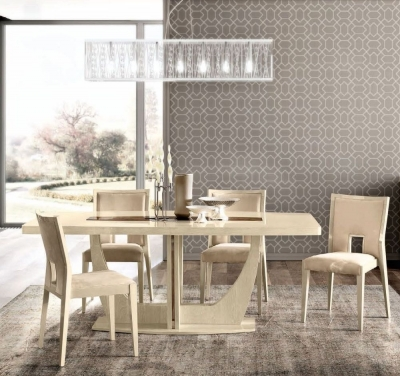 Camel Ambra Day Sand Birch Italian Large Extending Dining Table and 6 Chairs