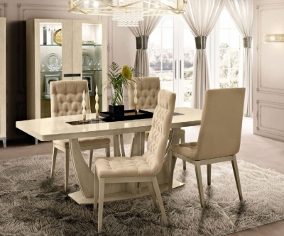Camel Ambra Day Sand Birch Italian Medium Extending Dining Table and 4 Capitonne Chairs