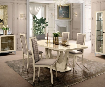 Camel Ambra Day Sand Birch Italian Small Extending Dining Table and 4 Rombi Chairs
