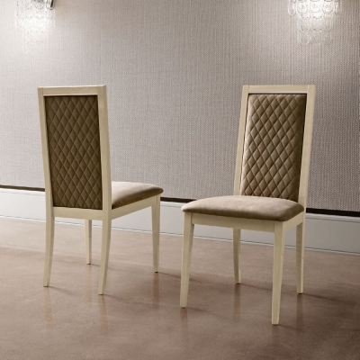 Camel Ambra Day Sand Birch Rombi Nabuk Upholstered Italian Dining Chair