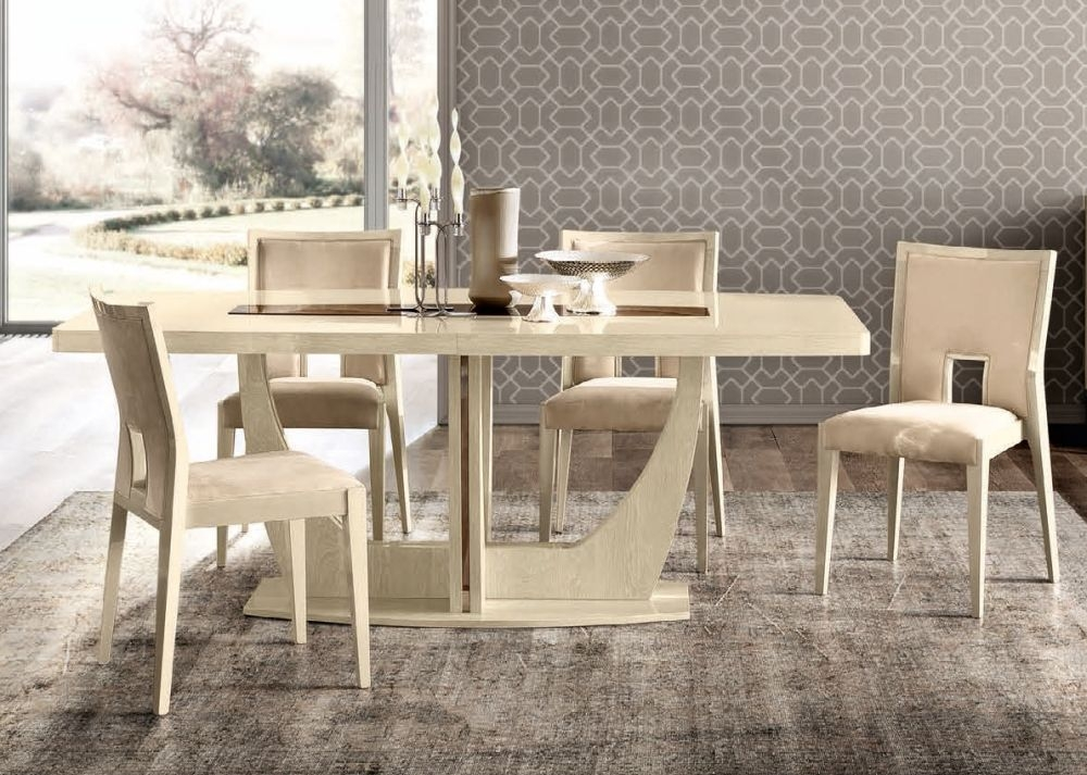 Camel Ambra Ivory Italian Medium Extending Dining Table and 4 Cream Chairs