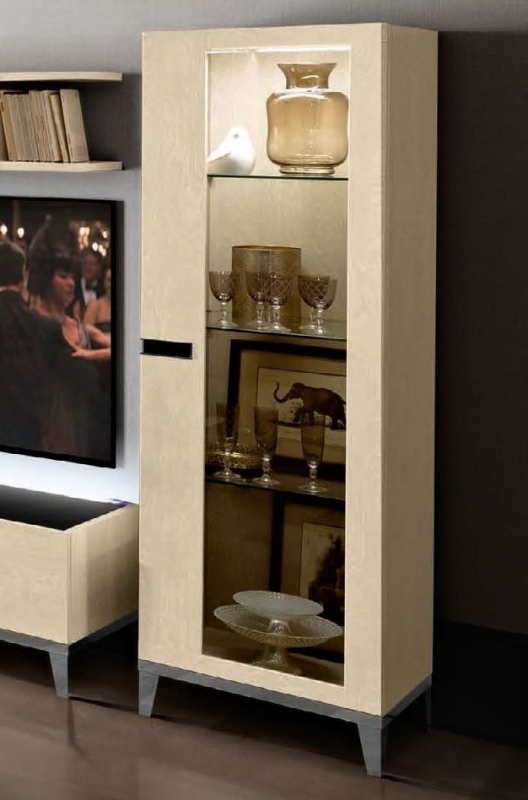 Camel Ambra Day Sand Birch Italian 1 Right Door Vitrine with Wooden Side