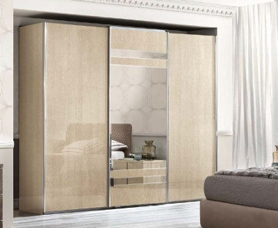 Camel Ambra Night Sand Birch Italian Mirror Sliding Wardrobe
