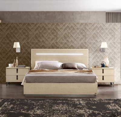 Camel Ambra Night Sand Birch Italian Legno Bed with Luna Storage