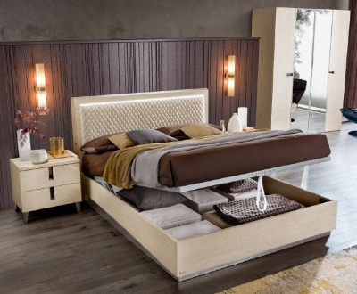 Camel Ambra Night Sand Birch Italian Rombi Bed with Luna Storage