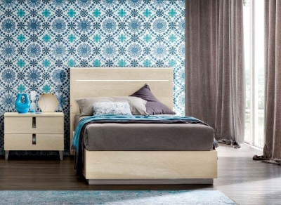 Camel Ambra Night Sand Birch Italian 4ft 6in Legno Bed with Luna Storage