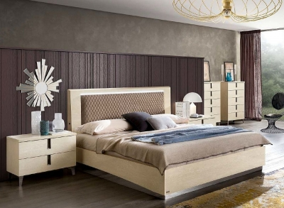 Camel Ambra Night Sand Birch Italian Rombi Bed with Luna Storage and Rhombus Eco Nabuk Headborad