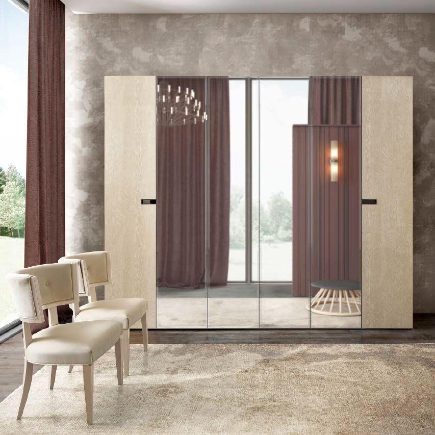 Camel Ambra Night Sand Birch Italian 6 Door Mirror Wardrobe