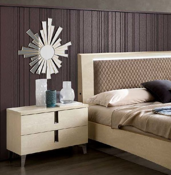 Camel Ambra Night Sand Birch Italian Maxi Bedside Cabinet