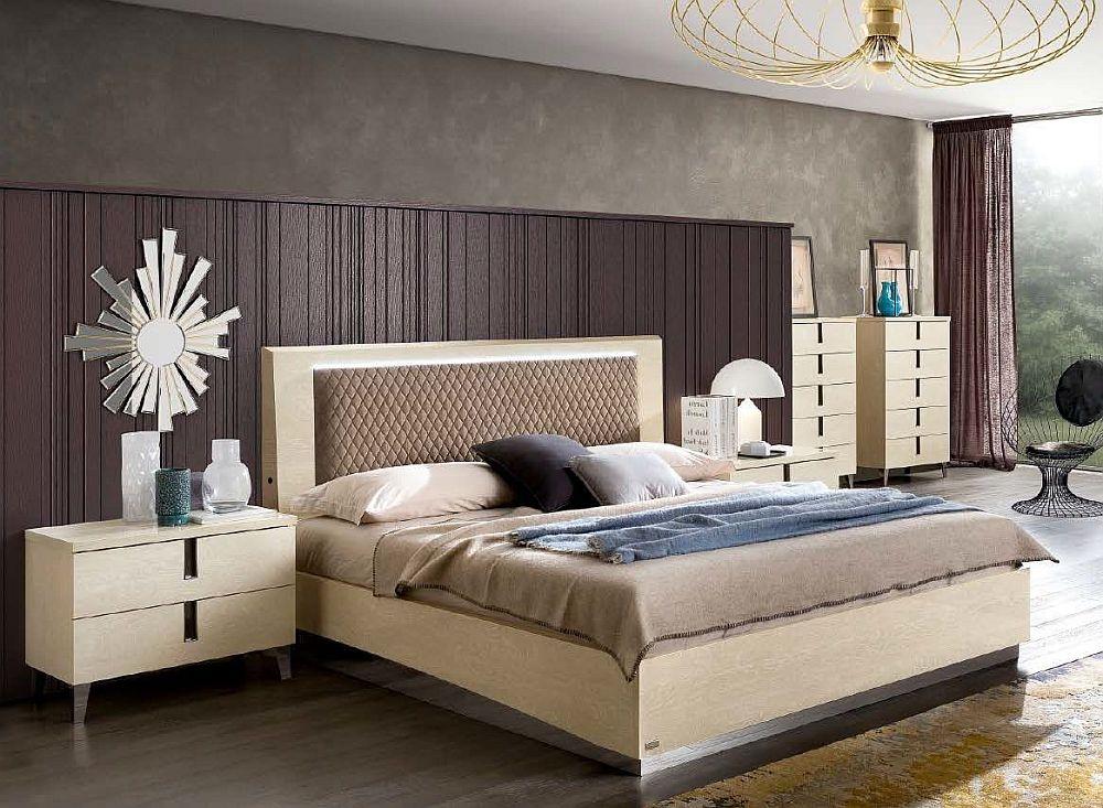 Camel Ambra Night Sand Birch Italian Rombi Bed with Luna Storage and Rhombus Eco Nabuk Headborad