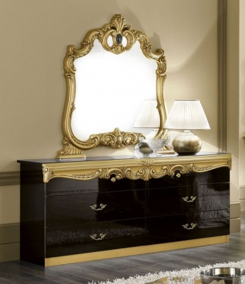 Camel Barocco Black and Gold Italian Double Dresser