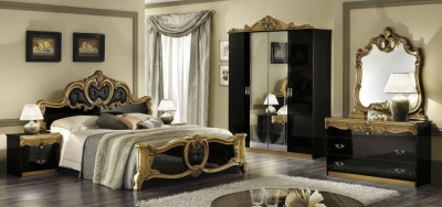 Camel Barocco Black and Gold Italian Bedroom Set with King Size Bed