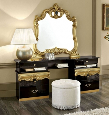 Camel Barocco Black and Gold Italian Vanity Dresser