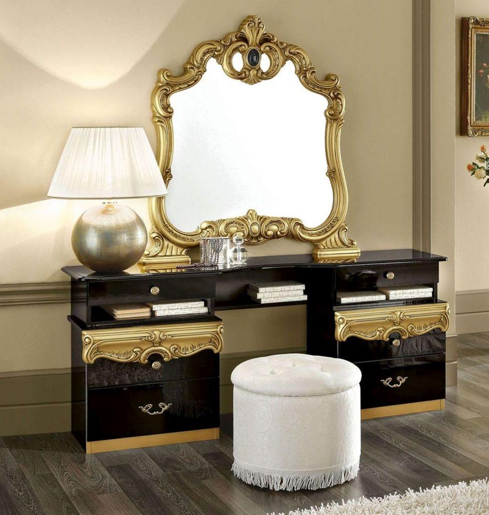 Camel Barocco Black and Gold Italian Vanity Dresser