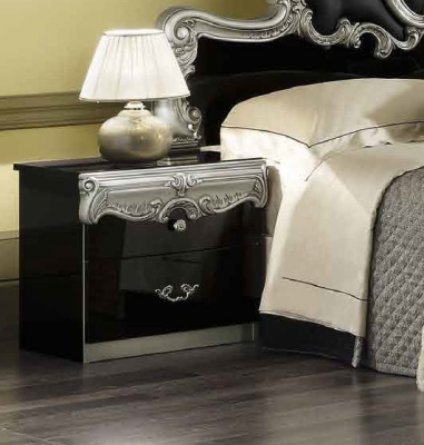 Camel Barocco Black and Silver Italian Bedside Cabinet