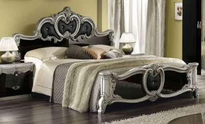 Camel Barocco Black and Silver Italian Leather Bed