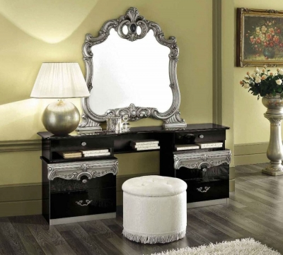 Camel Barocco Black and Silver Italian Vanity Dresser