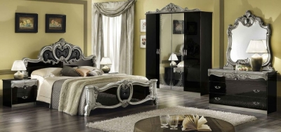 Camel Barocco Black and Silver Italian Bedroom Set with King Size Bed