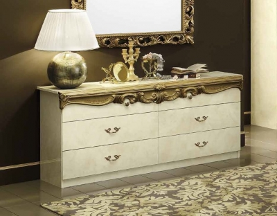 Camel Barocco Ivory and Gold Italian Double Dresser